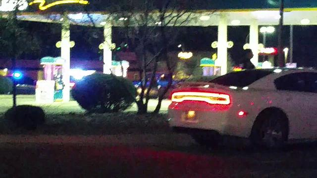 Authorities respond to the scene of an officer-involved shooting in Las Cruces on Saturday, Feb. 17, 2018. Police shot and killed a homicide suspect.