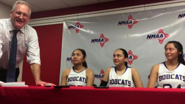 Opening comments after Thursday's win over Gallup (Coach Tom Adair, Alyssa Quintana, Brandi Alcantar, Micaela Abeyta).