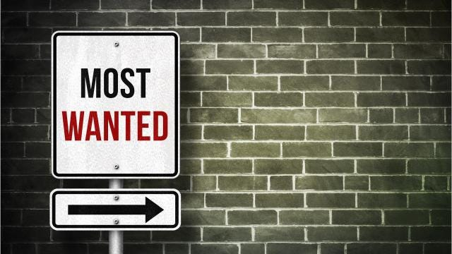 A weekly list of the 10 most-wanted fugitives sought by the El Paso Police Department and El Paso County Sheriff's Office.