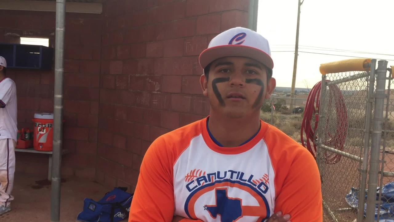 Canutillo pitcher Andrew Torres talks after the Eagles beat Del Valle in a District 2-5A baseball game on Tuesday.