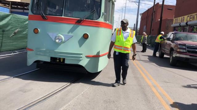 The newly refurbished President's Conference Committee (PCC) vintage streetcar was offloaded onto the new tracks in Downtown Monday. The arrival of car No. 1506 marks the return of the historic street cars to downtown El Paso with 5 more on the way.