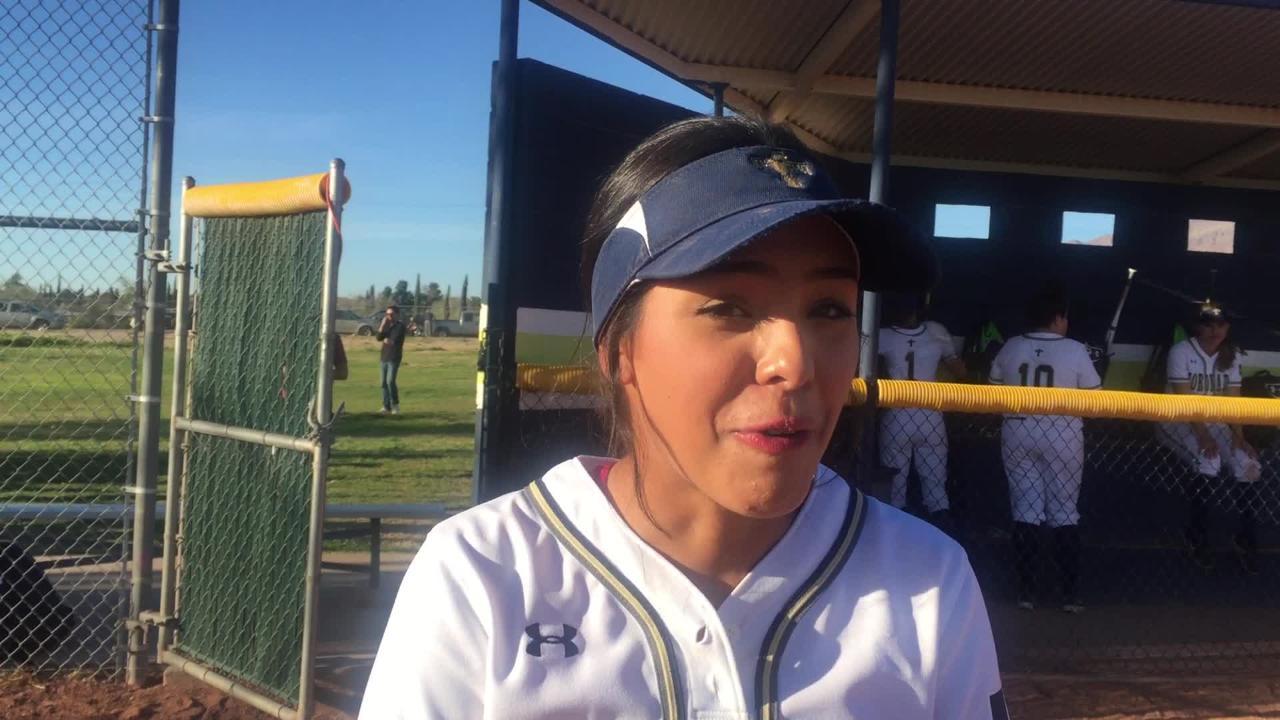Coronado softball player Jacqueline Fournier talks after the Thunderbirds beat Montwood, 6-3.
