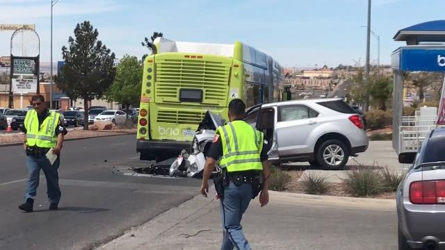 Police are investigating the scene of a crash where an SUV hit the back of a Sun Metro Brio bus on Mesa Street near Festival Drive.