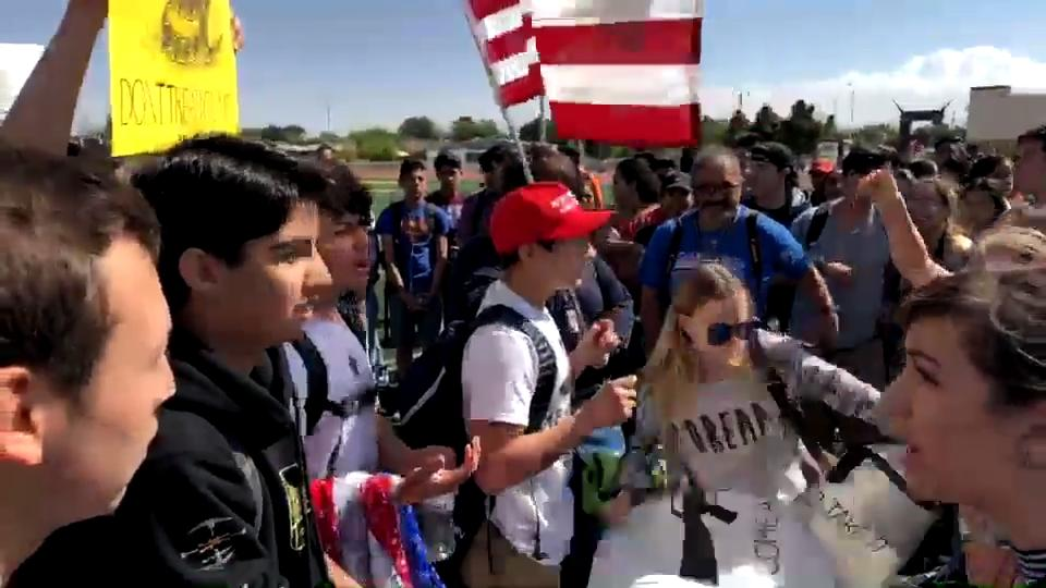 Students were allowed to walkout on April 20 at Eastwood High School. Once on the football field, things got heated.