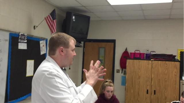 Pinkston Middle School students learn how to take their pulse Tuesday morning.