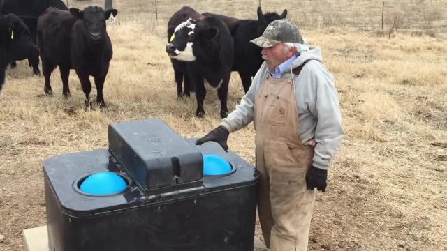 Rancher Jim Turnbo explains how his freeze-resistant water feeders function.