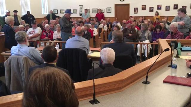 A meeting to discuss the $18 fee added to tax bills to bail out the failed landfill turned contentious at times.