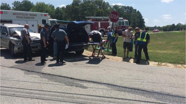 Traffic was snarled Friday afternoon at Rossi Road when two SUVs collided