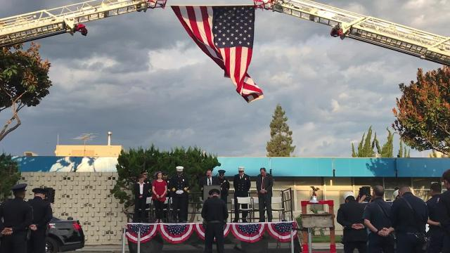 The Salinas police and fire departments partnered together to host a Sept. 11 ceremony open to the public Monday morning.