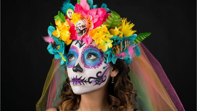 Marianna Chavarria, face artist and owner of Lily Padz Face Painting in Alice, breaks down the art of calavera/skull face painting and shows the Caller-Times how it's done. Model: Roxane Aguilar. Caller-Times file 2015.