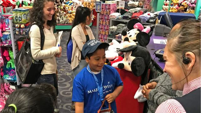 José Garcia begins his $2,000 shopping spree from Make-A-Wish Foundation at The Disney Store, Northridge Mall.