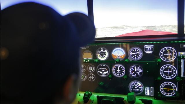 The Bob Hoover Academy received a new full-motion flight simulator, the Redbird FMX simulator, that was showcased Tuesday.