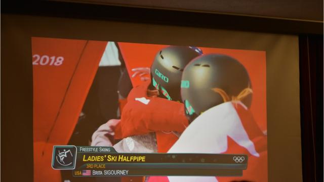 The dining hall of Santa Catalina School was packed with more than 150 students and faculty Monday night to watch one of their own, Brita Sigourney, compete in the 2018 Olympics in the women's freestyle halfpipe skiing.