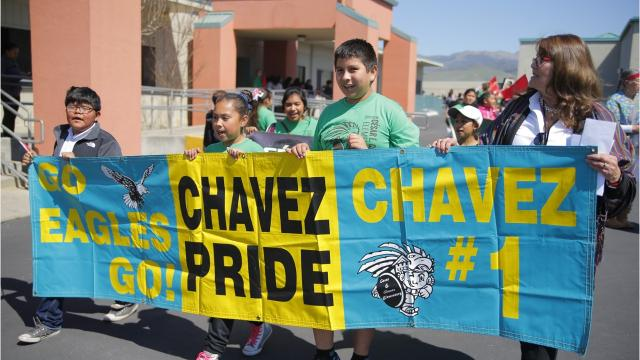 Cesar E. Chavez Elementary school in Salinas hosted its annual Cesar Chavez Peace March and Celebration in advance of Chavez's birthday.