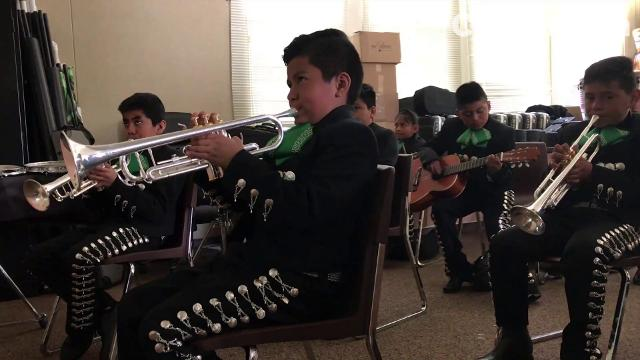 Saturday practice for Mariachi Juvenil Alisal at Fremont Elementary School.