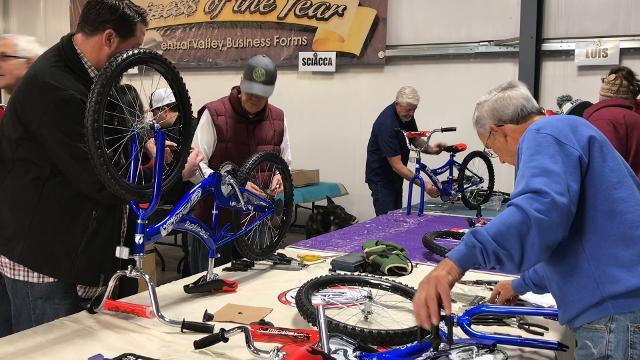Visalia Breakfast Rotary held its annual Bike Build on Saturday, Dec. 16