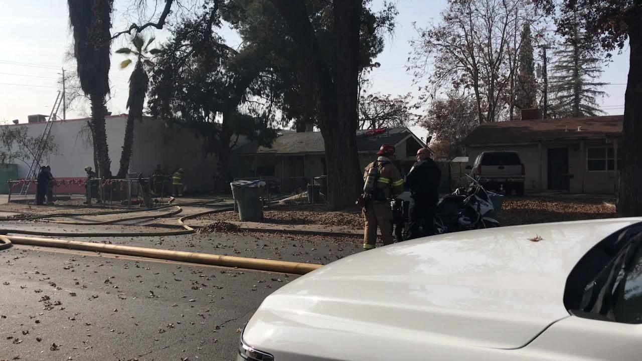 A family of five were evacuated from their home by Visalia police Friday afternoon after an electrical fire sparked flames