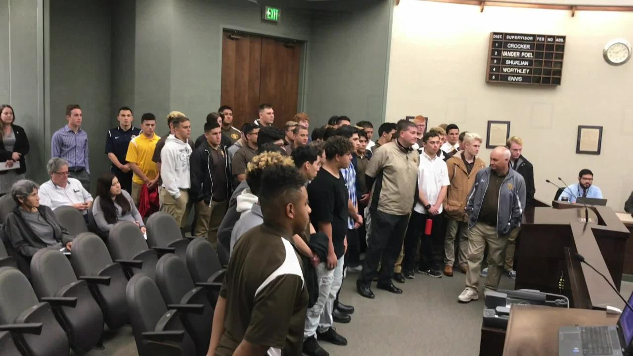 County Supervisors honored the Golden West High School football team for winning the Central Section and CIF State South Division regional titles.