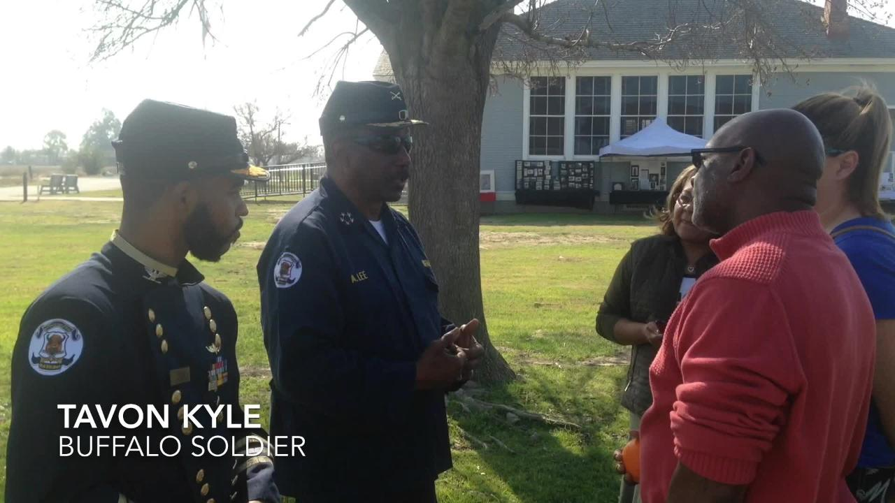 Members of the Buffalo Soldiers 9th calvary Bakersfield fort attended the Black History Month event at Allensworth State Park.