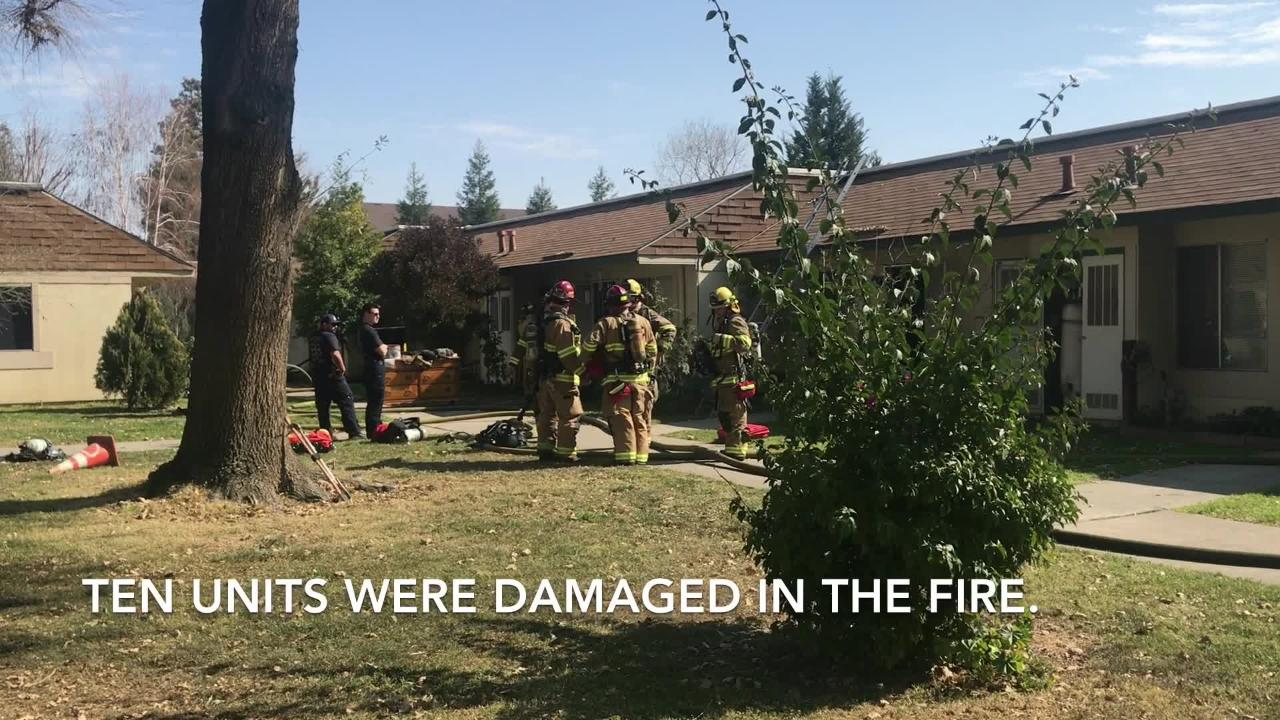 Ten seniors were displaced from their home after an attic fire at Visalia's The Meadows.