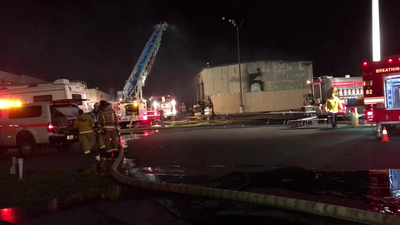 Roughly 30 firefighters responded to a three-alarm fire at Paul Evert's RV Country in Fresno.