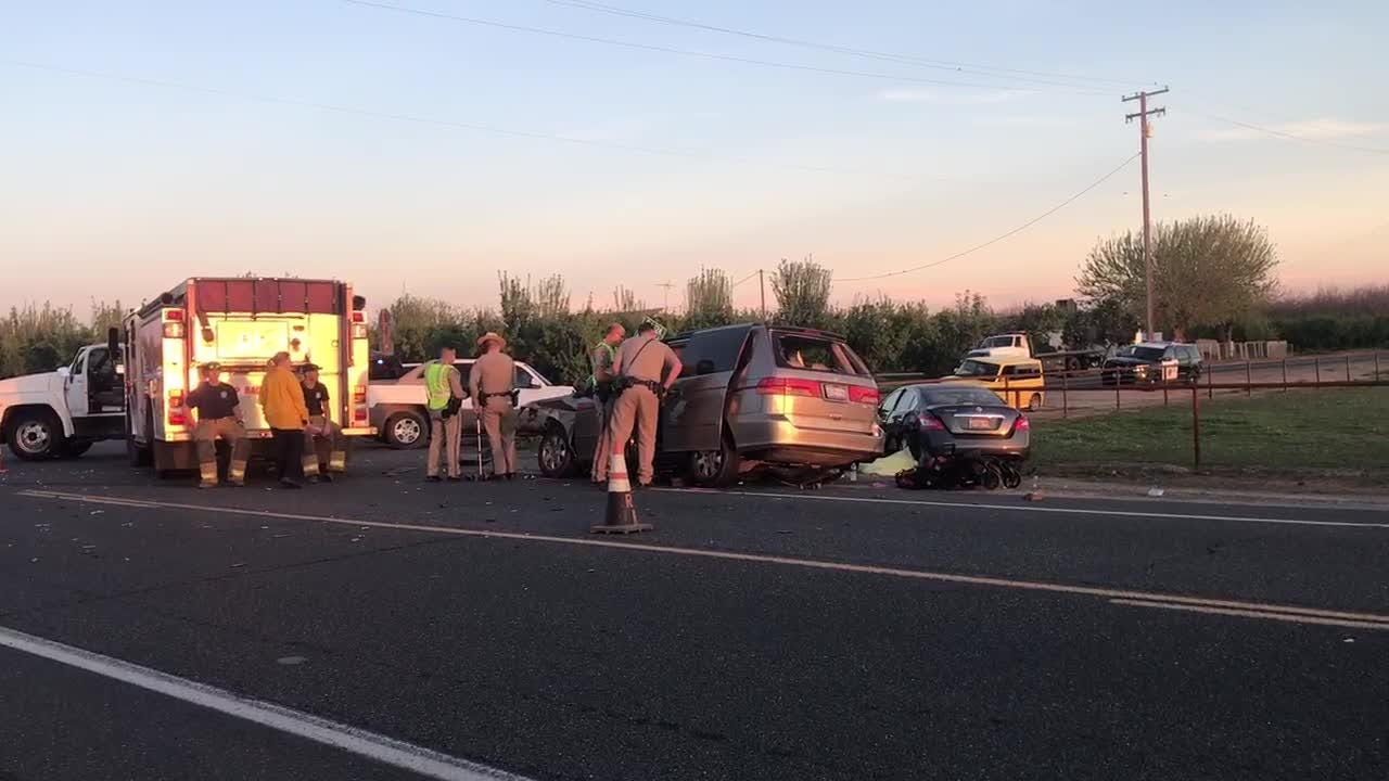 California Highway Patrol Officers investigate a collision near Tulare Monday evening.