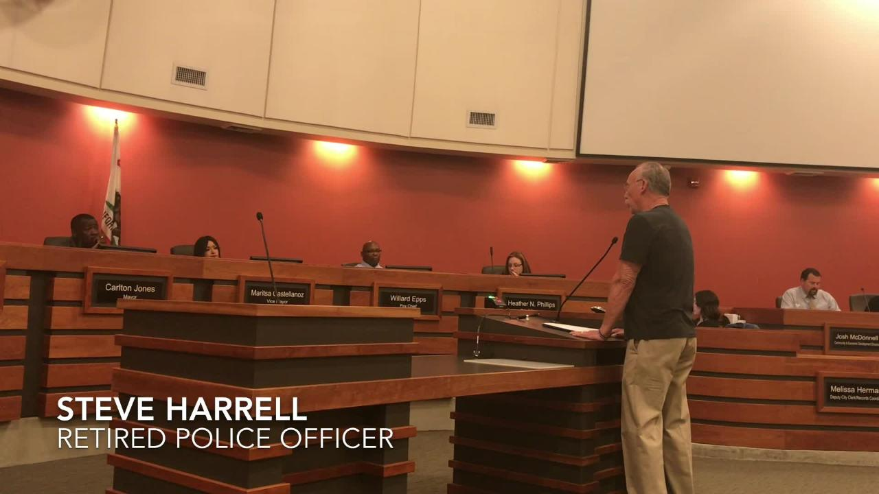 Retired Tulare police officer Steve Harrell addressed council members, talking about the on-going former Police Chief Wes Hensley personnel matter.