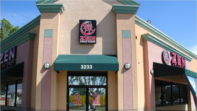 Zen Asian Diner is on the Noble Avenue side of Highway 198 in a shopping center with Kmart and Save Mart.