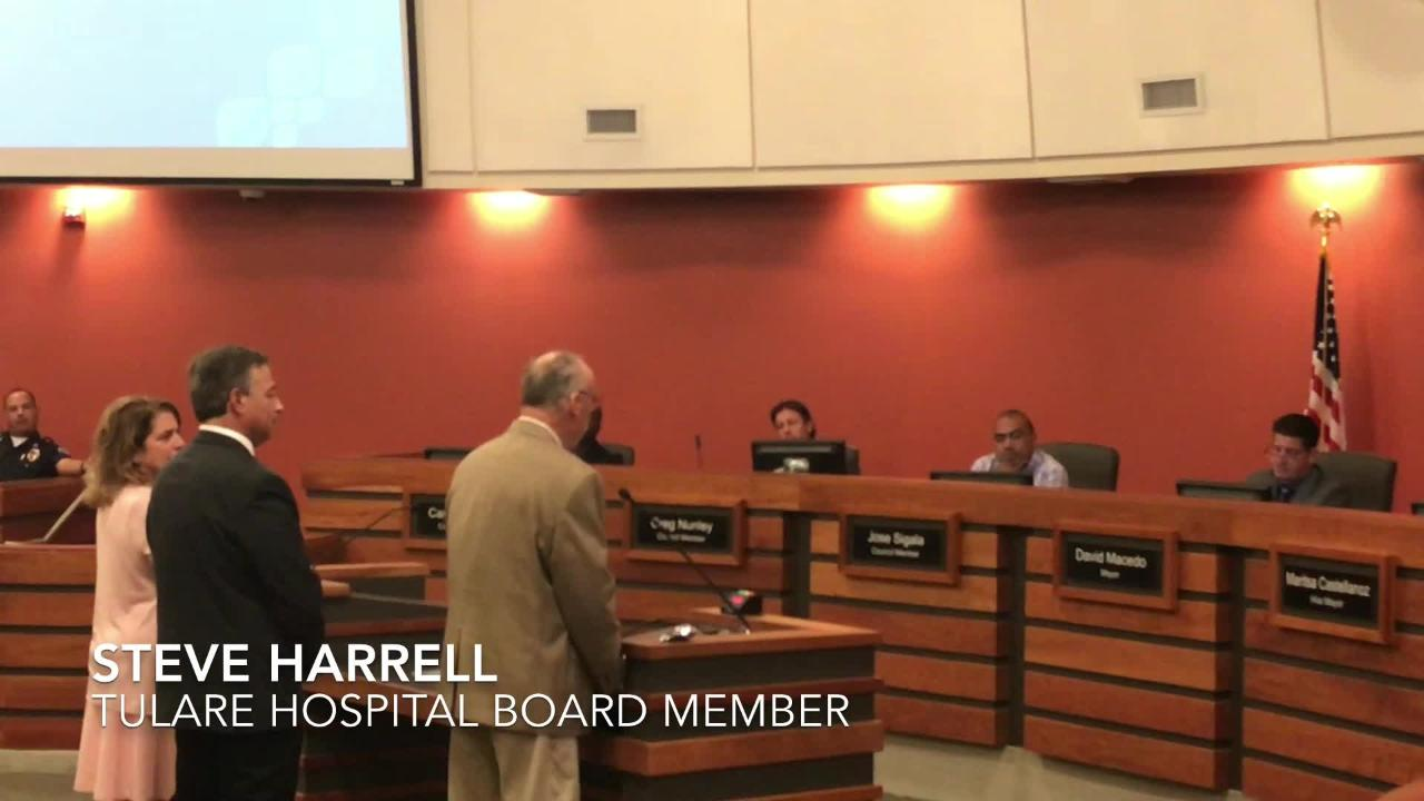 Tulare hospital board member Steve Harrell provides update to council on Measure H
