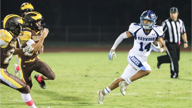 Redwood High defeated Golden West on Oct. 5, 2018 in a West Yosemite League football game.