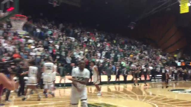 CSU basketball team celebrates win over Colorado