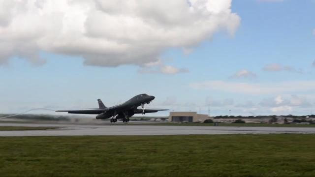 B1-B Lancer bomber takes off from Andersen AFB