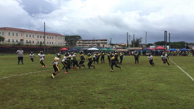 The Packers attempts a comeback against the Steelers during GNYFF play in Tamuning on Aug. 19, 2017.