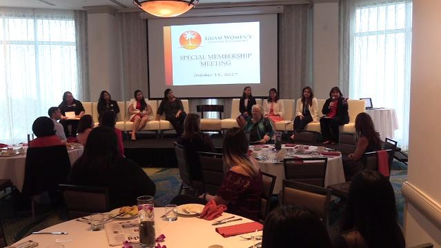 A panel of women leaders share their thoughts on leadership and public service during a forum with the Guam Women's Chamber of Commerce in Tumon on Wednesday, Oct. 18, 2017.
