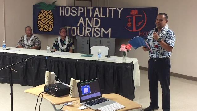 High school junior Cameka Joy Chen gives a synopsis of a forum on tourism presented by three community leaders at the Tiyan High School in Barrigada on Thursday, Oct. 19, 2017.