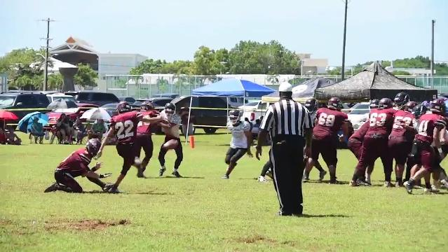 The Father Duenas Friars took on the challenge of the John. F. Kennedy Islanders in an Independent Interscholastic Athletic Association boys football matchup at the University of Guam field on Saturday, Oct. 21, 2017. Final score, 60-6, FD Friars.