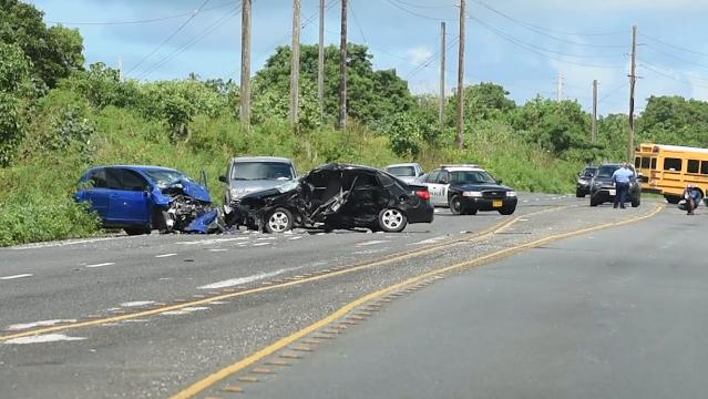 In this file video, police investigate a three-car collision just north of the Guam Regional Medical City that sent three people to the hospital.