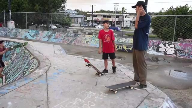 Local skaters discuss the safety conditions of their skate park in Dededo on Dec. 12, 2017.