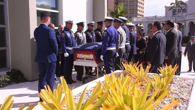 """Lawmakers and other island leaders remember former Tamuning mayor Concepcion """"Connie"""" Duenas during a state funeral service held at the Guam Congress Building on Thursday, Jan. 11, 2018."""