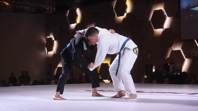 Brazilian jiu-jitsu competitors battle for submissions during Submit 5 Guam at Dusit Thani Guam Resort on Jan. 12, 2018.