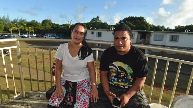 Lynn Robert, 36, with boyfriend Jake Neth, 24, at an apartment building in Yigo on Jan. 19, 2018. The couple were victims to a Jan. 16 structure fire in Mangilao that destroyed all of their belongings and left them homeless.