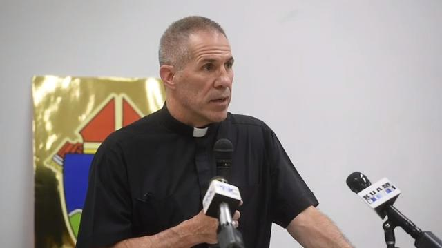 Archbishop Michael Jude Byrnes addresses the Vatican's decision to convict former Guam Archishop Anthony S. Apuron during a press conference at the St. John Paul the Great Center in Hagåtña on March 19, 2018.