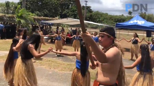 Oceanview Middle School's Guma' Nina'en Åcho' Latte cultural dance group entertains guests during a Mes Chamoru, or Chamorro Month, event at the Naval Base Guam in Sumay on March 21, 2018.