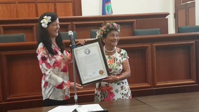 Suruhana Rosalia Fejeran Mateo, or Mama Chai, 82 presented with a resolution in her honor at the Guam Congress Building on March 23, 2018.