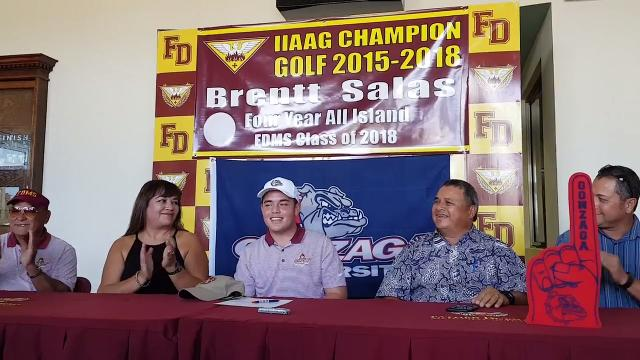 One of the island's top golfers, Father Duenas senior Brentt Salas, will compete for Gonzaga University after signing an agreement to play for the Division I golf team on April 12, 2018.