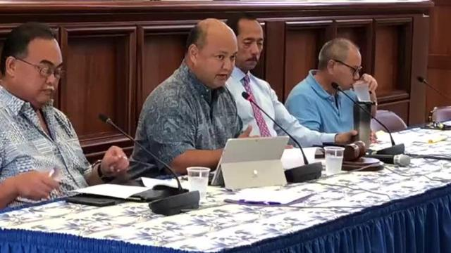 Superintendent Jon Fernandez testified in support of a bill which seeks to designate the Guam Department of Education as the procuring entity for the rebuilding of Simon Sanchez High School.