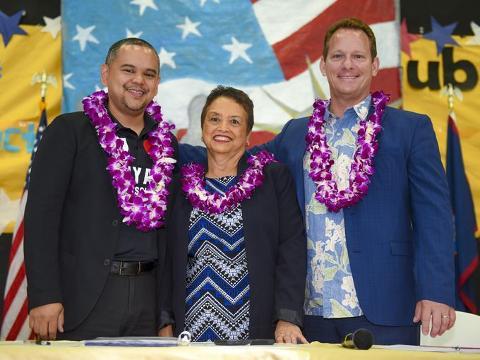 Three candidates spoke to Tiyan High School students during a gubernatorial forum held April 26, 2018.