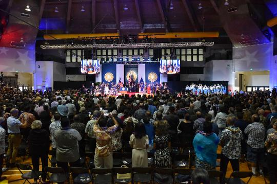 The inauguration of of Lou Leon Guerrero as Guam's first elected female governor and Josh Tenorio as the island's next lieutenant governor at the UOG Calvo Field House, Jan. 7, 2019.