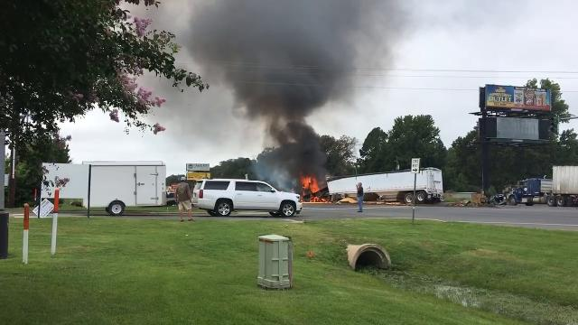 18-wheeler explodes following wreck