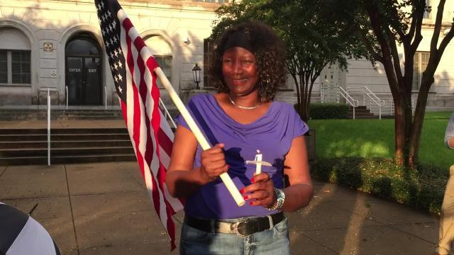 VIDEO: Marie Brown talks about reaction to Charlottesville at candlelight vigil in Monroe